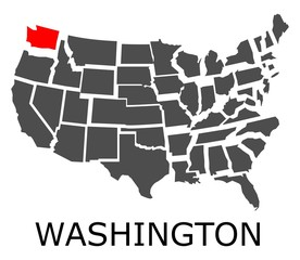 Bordering map of USA with State of Washington marked with red color.