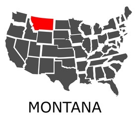 Bordering map of USA with State of Montana marked with red color.