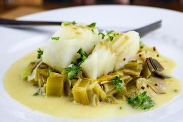 Skillet braised cod with mustard and leeks