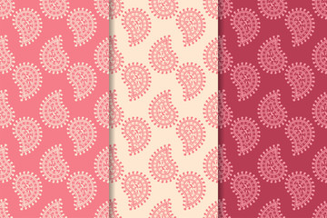 Cherry red set of paisley seamless patterns