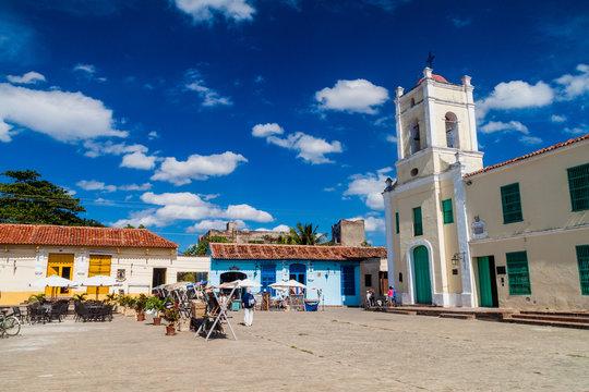 CAMAGUEY, CUBA - JAN 25, 2016: Colorful houses at San Juan de Dios square in Camaguey