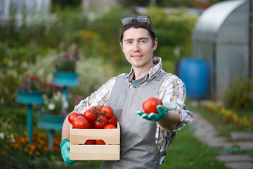 Young brunette farmer with tomato