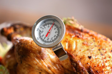 Golden roasted turkey with meat thermometer, close up