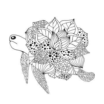 Zentangle stylized fantasy turtle.