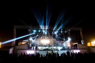 Music stage with lasers and lighting