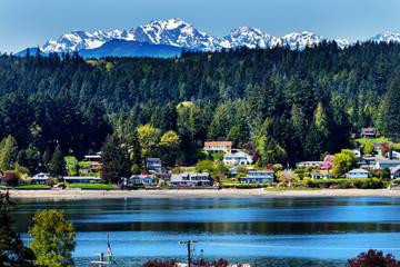 Poulsbo Bainbridge Island Puget Sound Snow Mountains Olympic National Park Washington