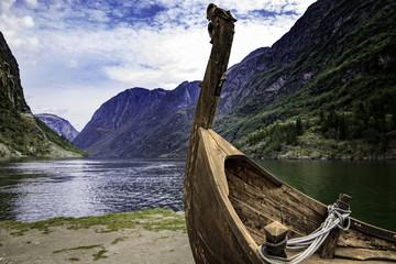 Viking ship in Gudvangen in Aurland Norway