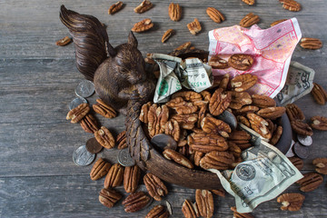 squirrel saving nuts and money for the future