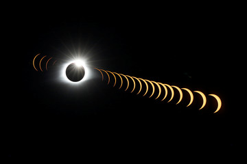 A composite image of 21 separate photographs taken with a single fixed camera shows the solar eclipse as it creates the effect of a diamond ring at totality as seen from Clingmans Dome