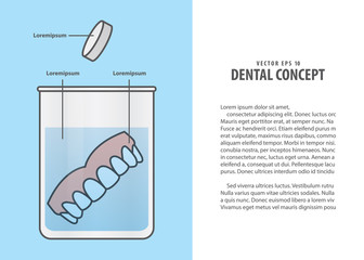 Layout Cleaning the denture cartoon style for info or book illustration vector on blue background. Dental concept.