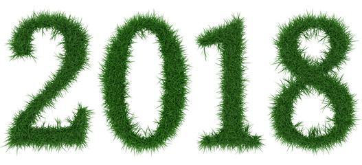 2018 - 3D rendering fresh Grass letters isolated on whhite background.