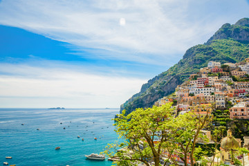 beautiful view on town Positano on Amalfi coast, Campania, Italy