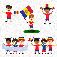 Set of boys with national flags of Andorra. Blanks for the day of the flag, independence, nation day and other public holidays. The guys in sports form with the attributes of the football team