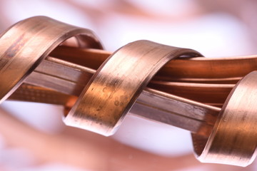 Copper wire bus closeup with blurred background