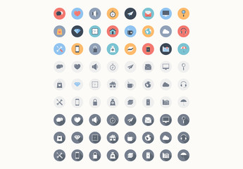 72 Round Color and Grayscale Icons 1