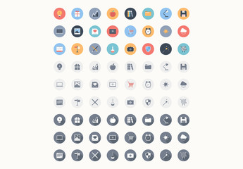 72 Round Color and Grayscale Icons 2
