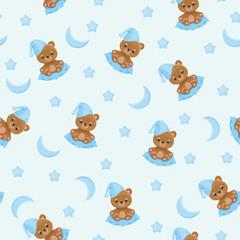 Sleepy teddy bear seamless pattern