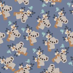 Koala floral seamless pattern