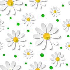 Seamless floral pattern with 3d chamomiles isolated on white with green dots. Vector illustration