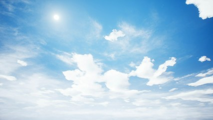 Cloudscape with summer sun. 3D rendering