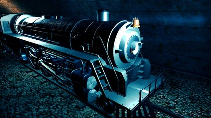 Steam old train in tunnel. 3D rendering