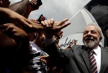 Former Brazil's President Luiz Inacio Lula da Silva attends a rally in northeastern city of Lagarto in Sergipe