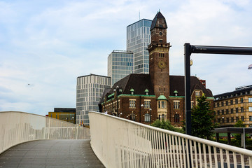 Malmo panoramic cityscape, Sweden. Modern buildings and old tower. Modern architecture exterior