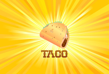 Mexican taco on yellow light background vector