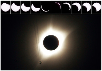 A combination of ten pictures shows the progression of a partial solar eclipse near as a jet plane flies by the total solar eclipse in Guernsey