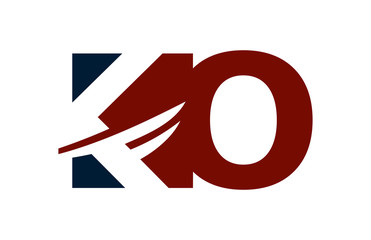 KO Red Negative Space Square Swoosh Letter Logo