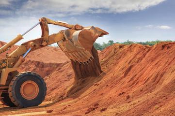 one bulldozer at Weipa bauxite mine