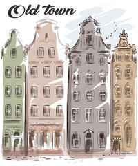 Cute hand drawn old town. Beautiful old buildings. City architecture. Sketch. Vector illustration.
