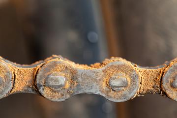 Mud dirty mountain bike chain details