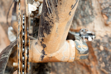 Mud Dirty Chainring and chain in a mountain bike