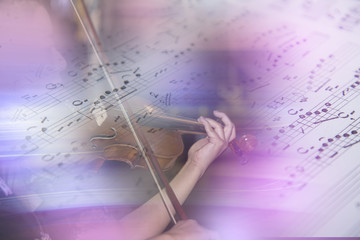 Abstract background created by violin and note music