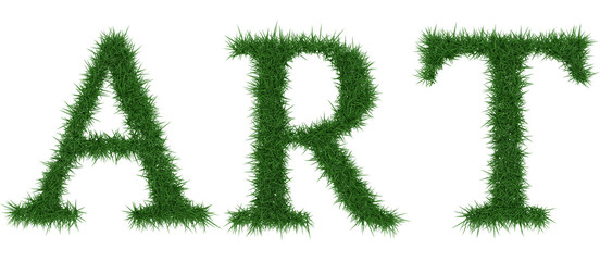 Art - 3D rendering fresh Grass letters isolated on whhite background.