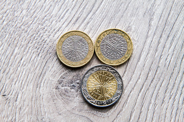 Mix of euros and cents on wooden background