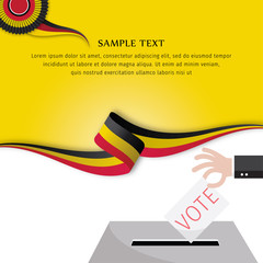 Abstract color background German flag vector. Background German flag. Abstract German flag ribbon. Hand of people vote ballot with box. Bundestagswahl.