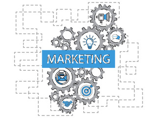 Marketing word cloud and marketing concept on gears target icon background. Flat illustration. Infographic business for graphic or web design layout