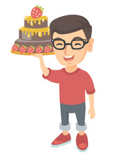 Little caucasian boy holding a strawberry cake. Full length of cheerful smiling boy in glasses standing with a chocolate cake in hands. Vector sketch cartoon illustration isolated on white background.
