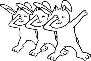 cool party 3 freunde team paar dub dab tanz dabbing move tanzen position hände arme hand kopf strecken zeigen figur bewegung position tanzfigur hase kaninchen lustig
