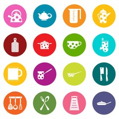 Kitchen tools and utensils icons many colors set