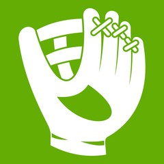 Leather baseball glove icon green