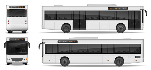 Realistic City Bus template isolated on white background. Passenger City Transport for advertising design. Passenger Bus mockup side, front and rear view. Vector illustration.