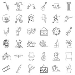 Art icons set, outline style