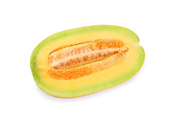 Cantaloupe melon cut in half looking healthy and delicious, isolated on.