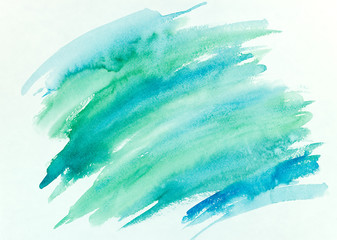 blue and green watercolor brush stroke abstract hand painted background
