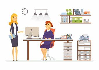Office Discussion - modern vector cartoon business characters illustration