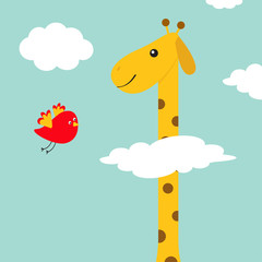 Giraffe with spot. Flying bird. Zoo animal. Long neck. Cute cartoon character. Wild savanna jungle african animals collection. Education cards for kids. Blue sky background White cloud. Flat design.