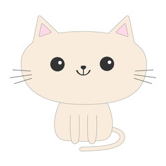 Cute sitting cat icon. Funny cartoon character. Kawaii animal. Tail, whisker, big eyes. Kitty kitten. Baby pet collection. White background. Isolated. Flat design.